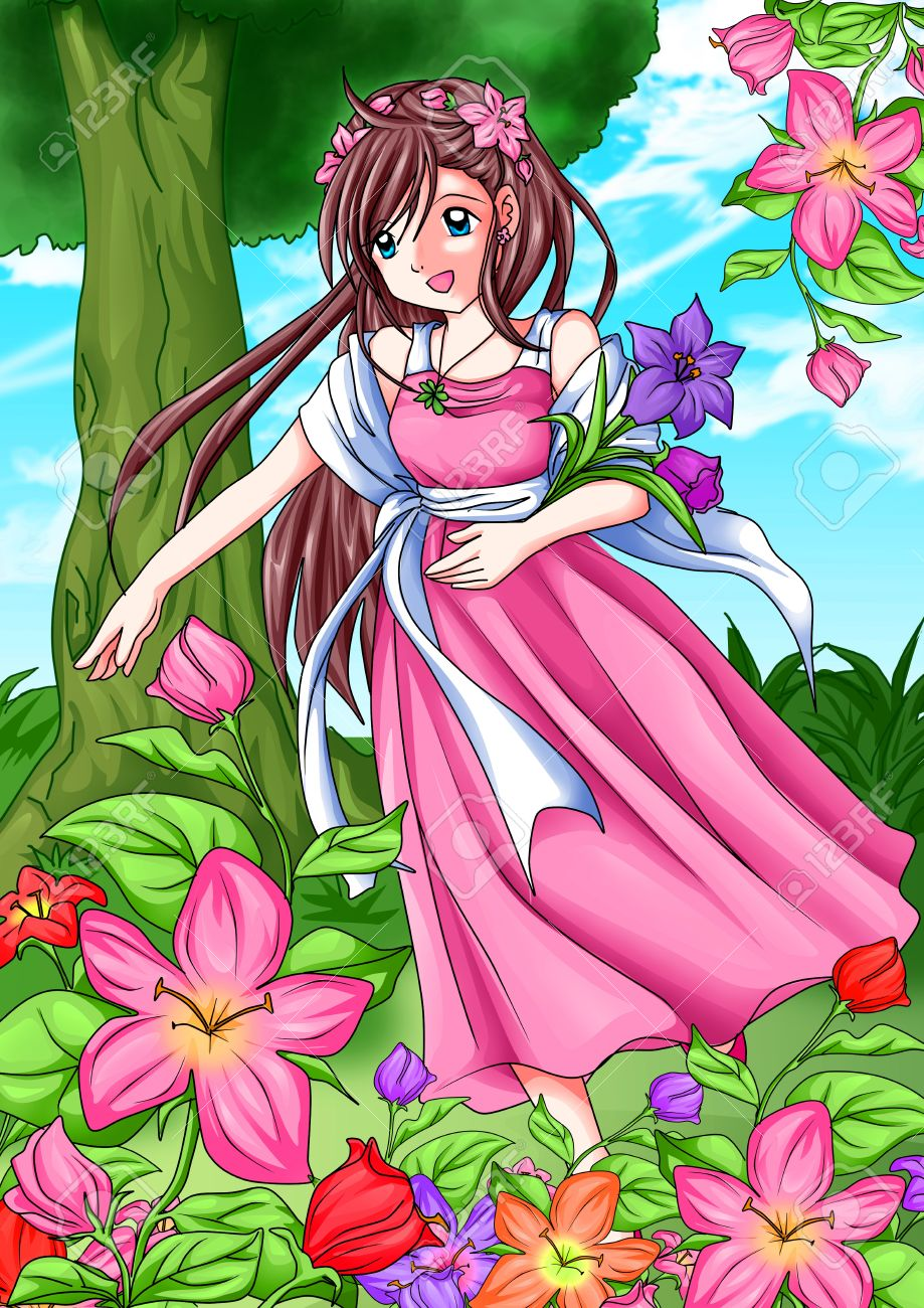 cartoon illustration of a girl picking the flowers stock photo