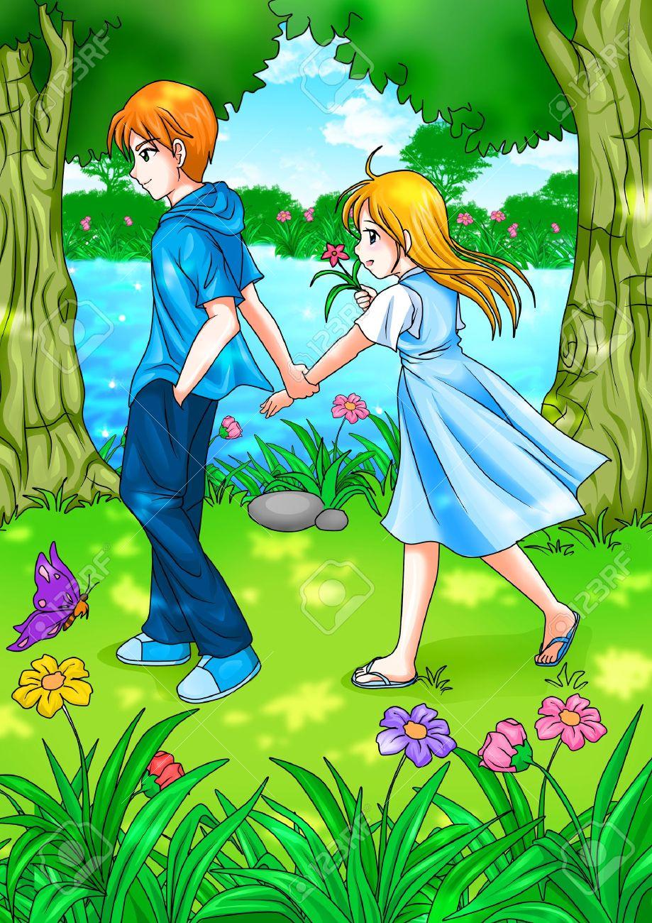 Banque dimages illustration de bande dessinée dun couple adolescent marchant dans le jardin