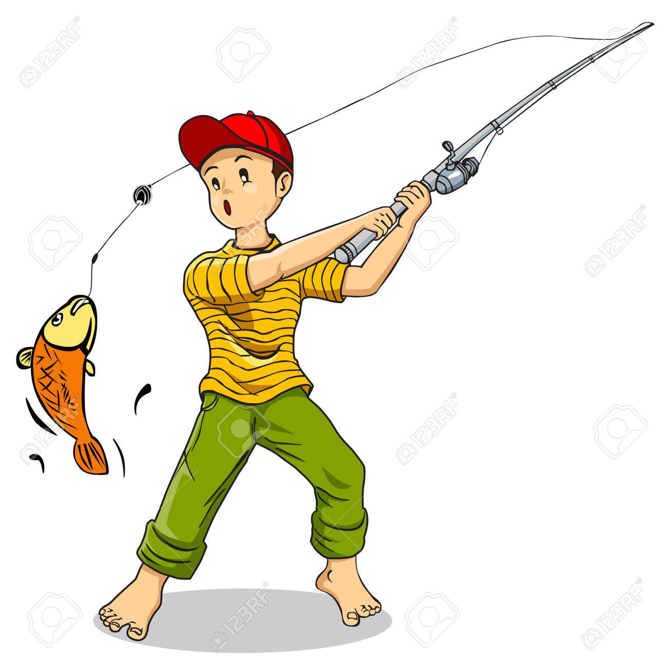 Cartoon illustration of a boy fishing Stock Vector - 12930192