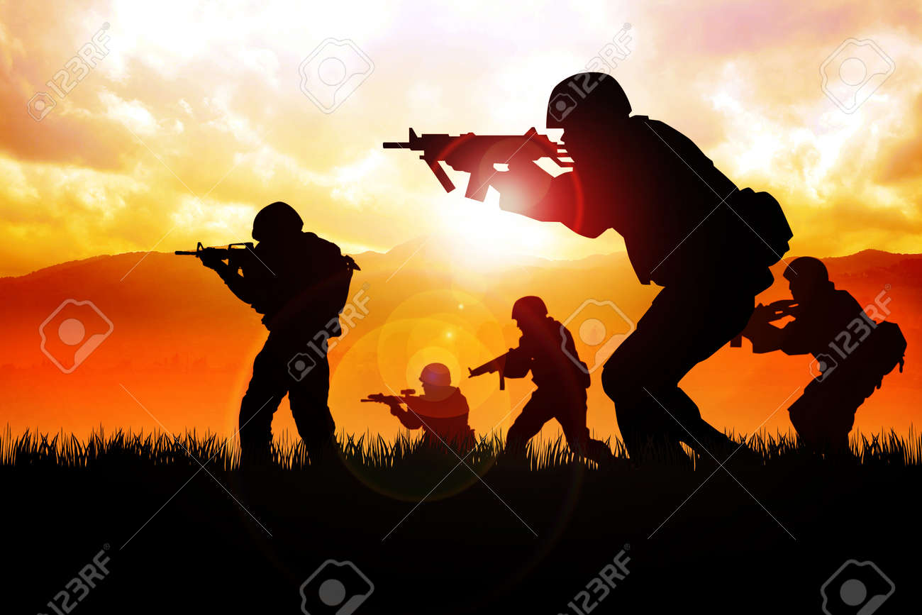Silhouette illustration of a group of soldiers on the field Stock Photo - 13089782