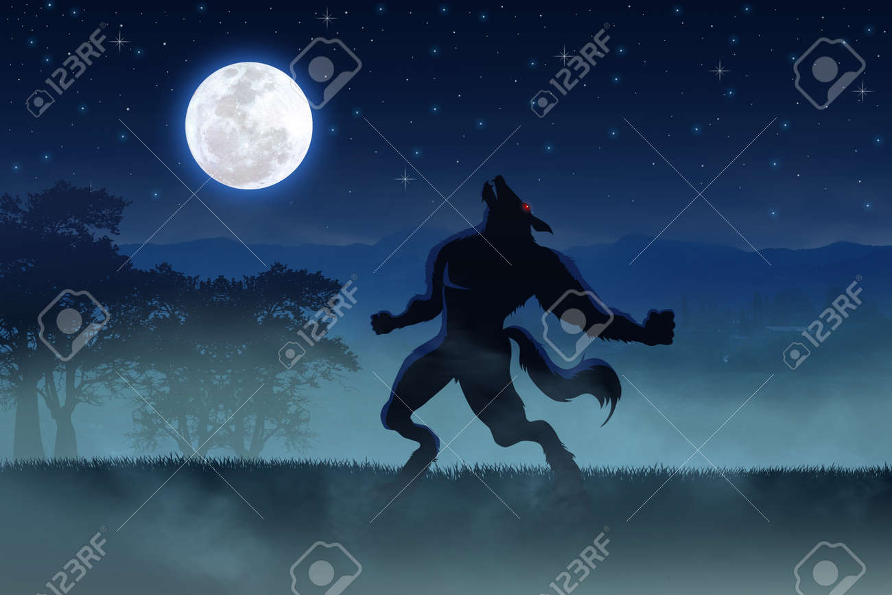 Ilustración De Un Hombre Lobo Con La Luna Llena En El Fondo Fotos