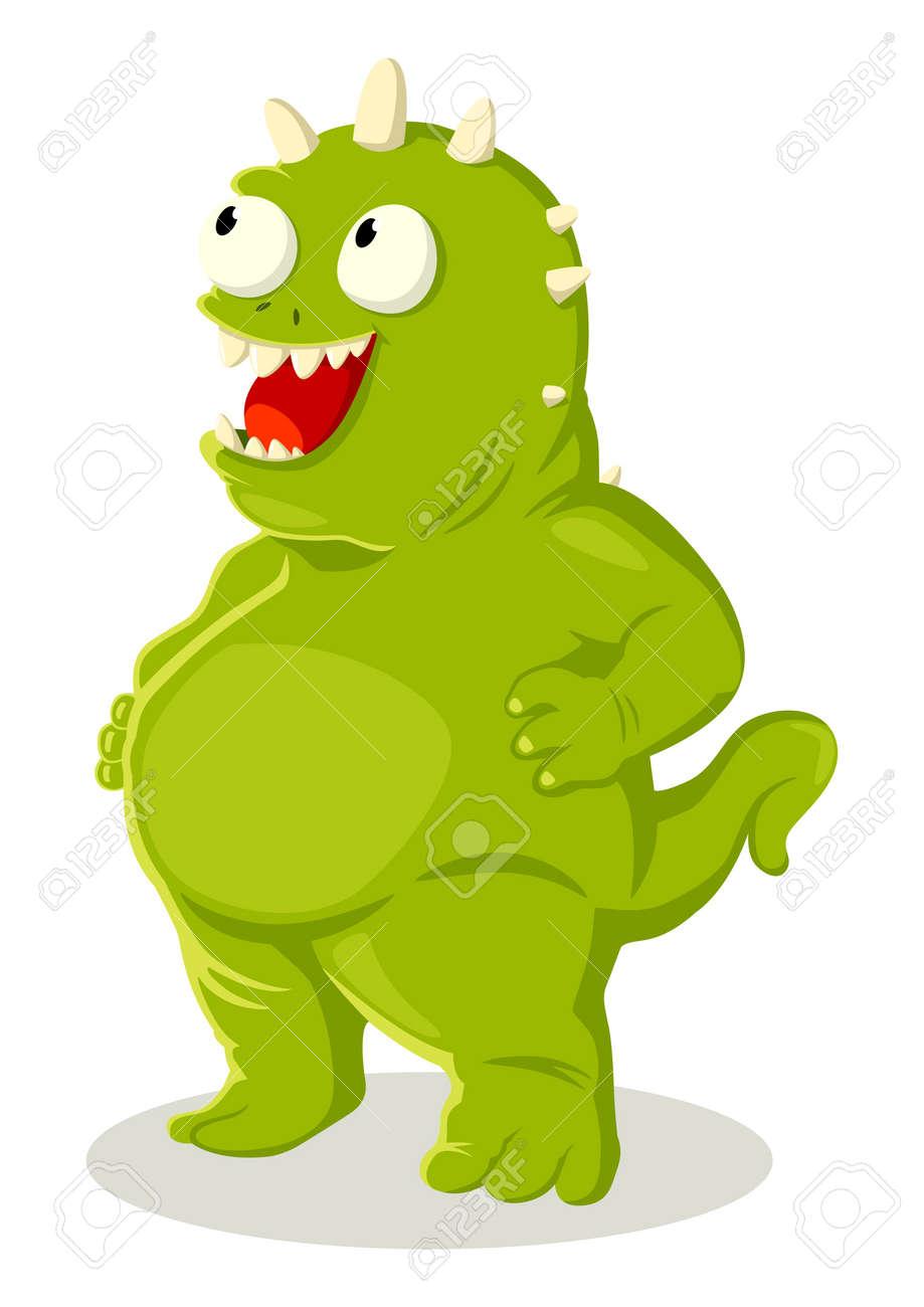 Cartoon illustration of green monster Stock Vector - 13462437