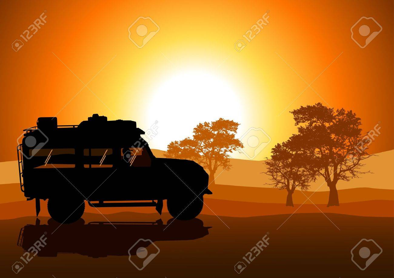 Vector illustration of sport utility vehicle  SUV  on off road Stock Vector - 13755400