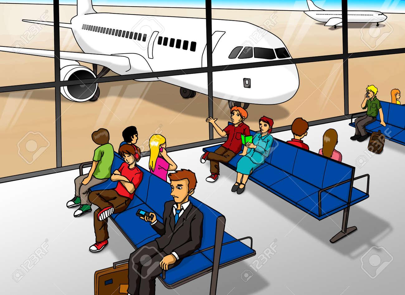 cartoon illustration of people waiting at airport lounge stock photo rh 123rf com cartoon airport security cartoon airport video