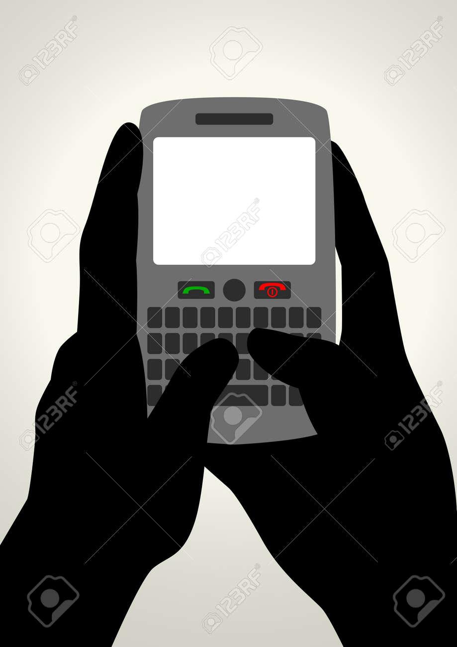 Vector illustration of hands using smart phone Stock Vector - 14066313