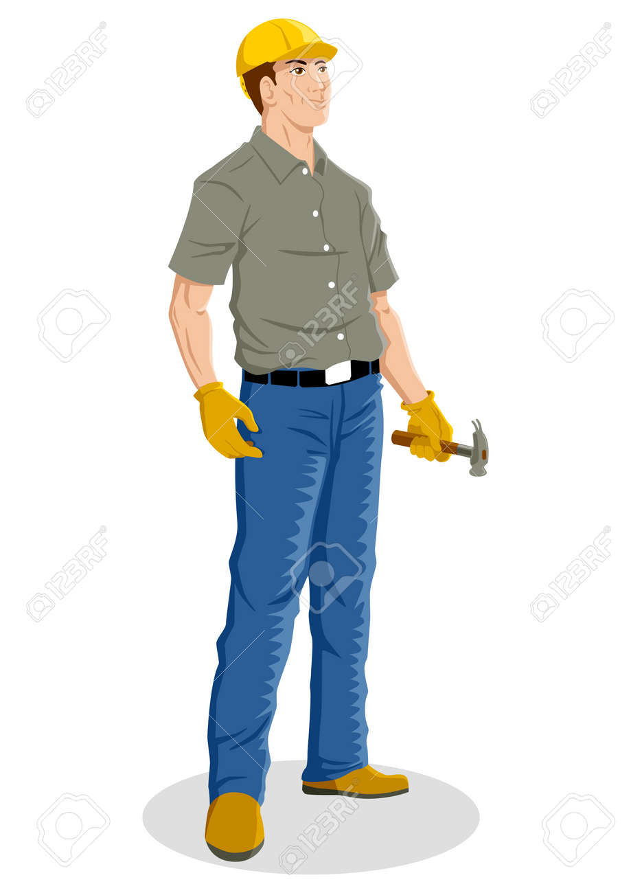 Illustration of a construction worker Stock Vector - 14337200