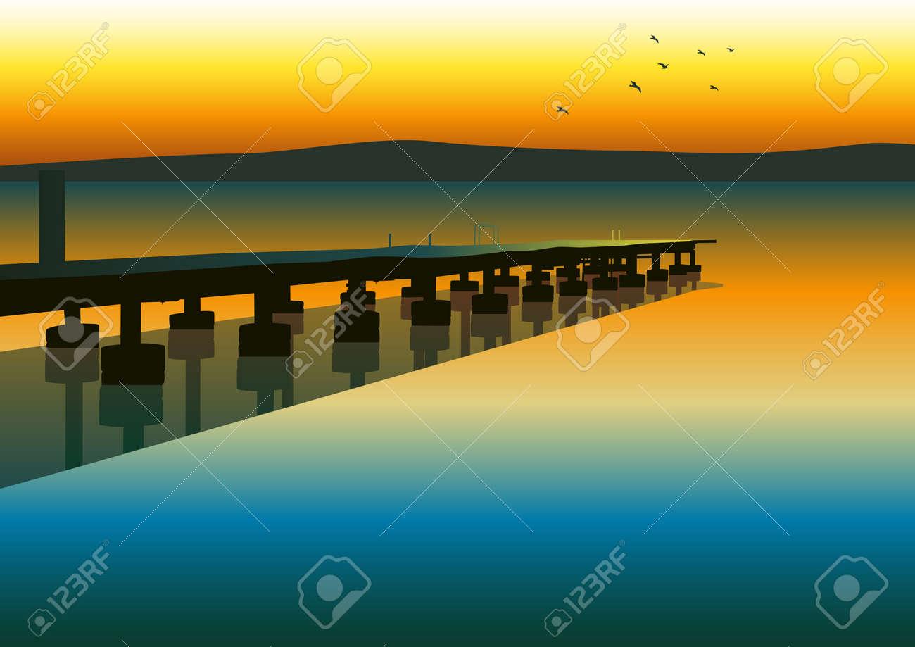 Vector illustration of pier - 14337211
