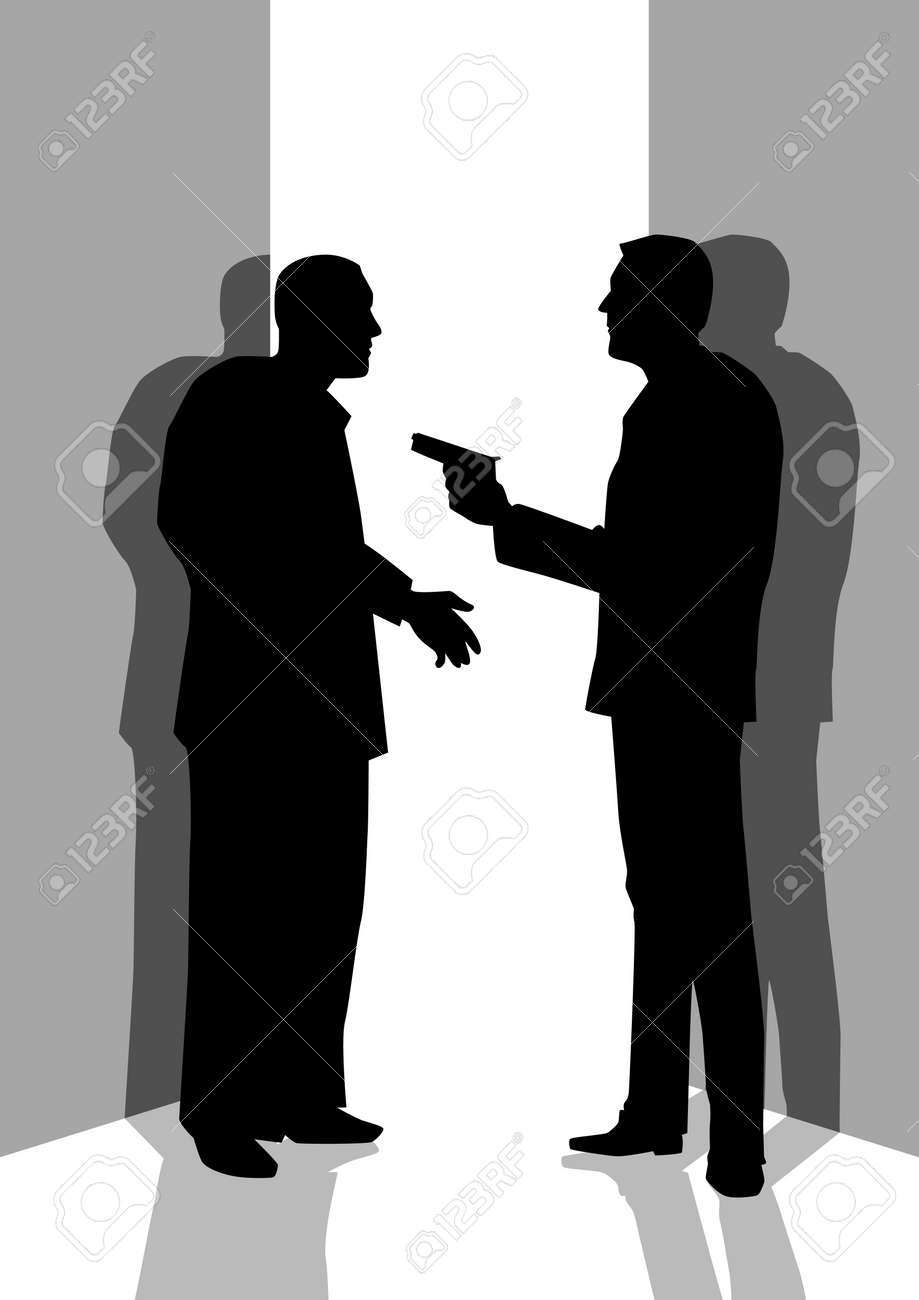 Silhouette illustration of a man threatening someone with a gun Stock Vector - 14337207
