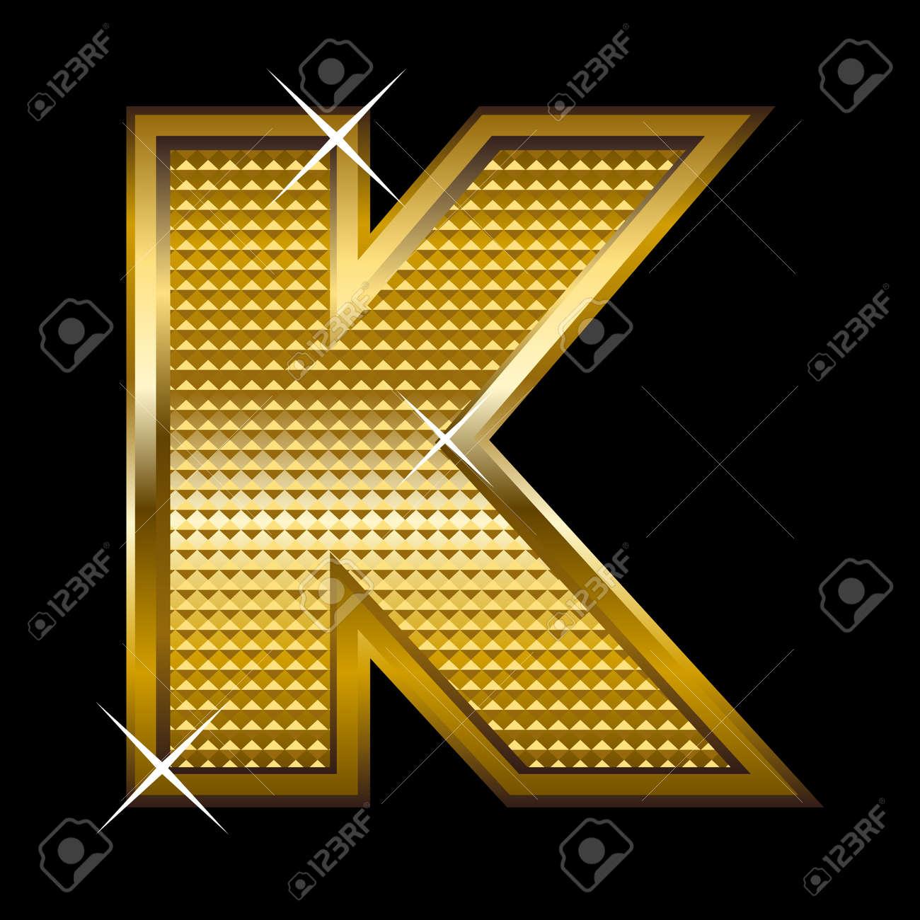 Golden font type letter K Stock Vector - 14512842