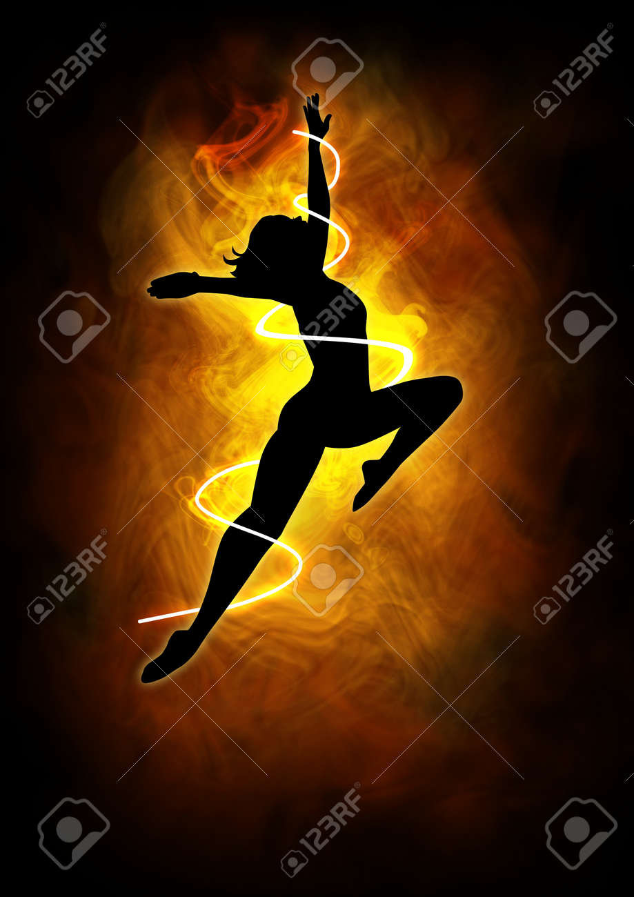 Silhouette illustration of a woman figure dancing Stock Photo - 14797247