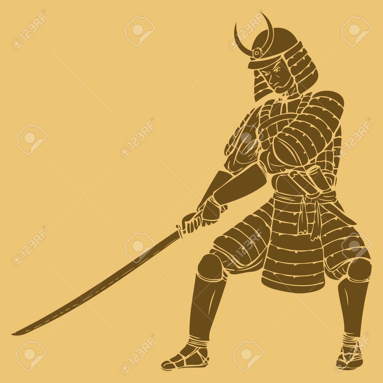 彫刻が施されたスタイルのイラストの武士のイラスト素材 ベクタ