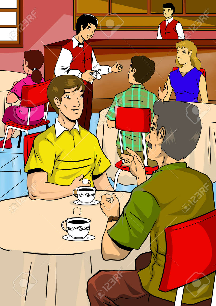 Illustration of people in restaurant or cafe Stock Photo - 15440124