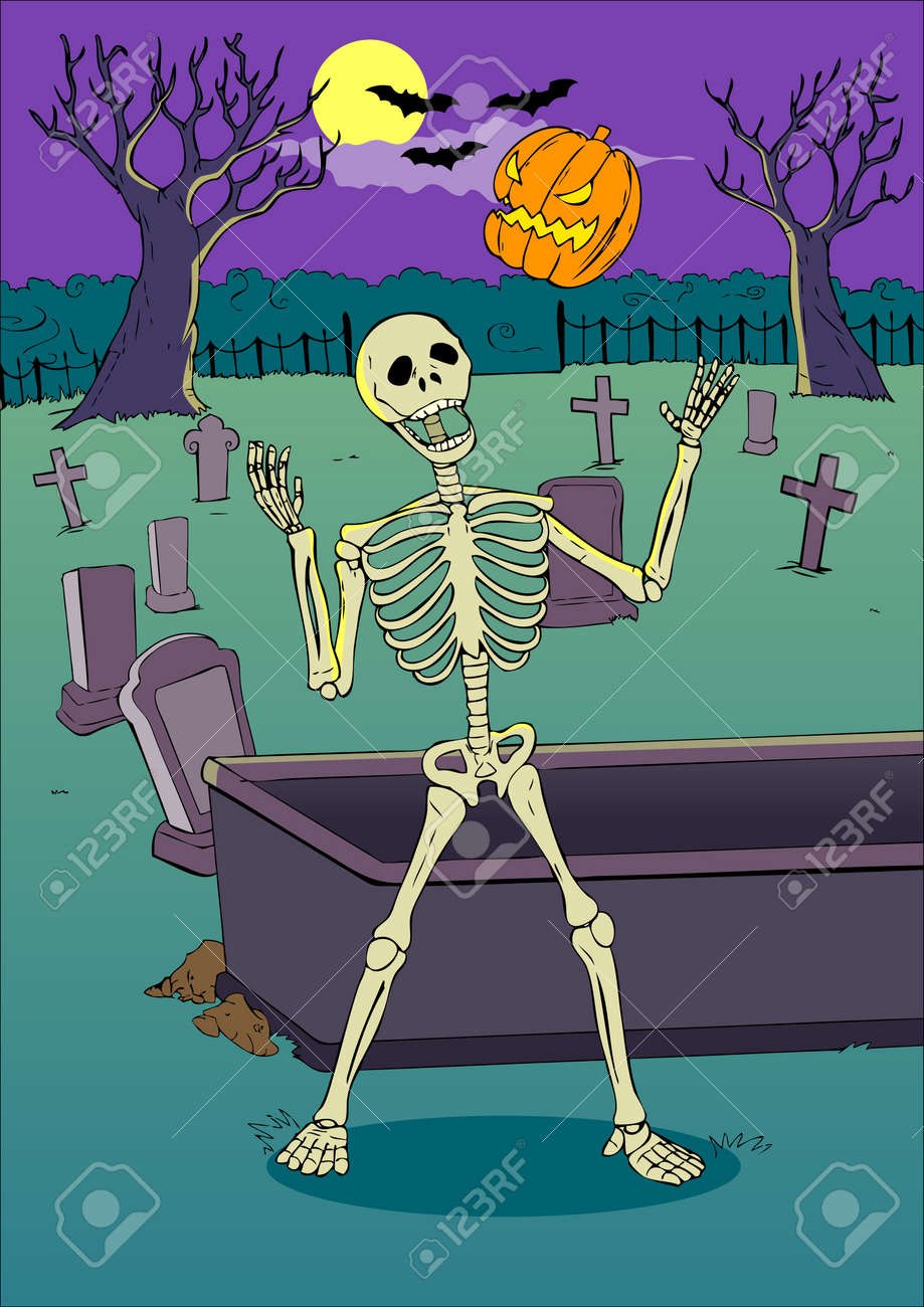 Cartoon illustration of a skeleton playing with pumpkin on graveyard Stock Vector - 15941955