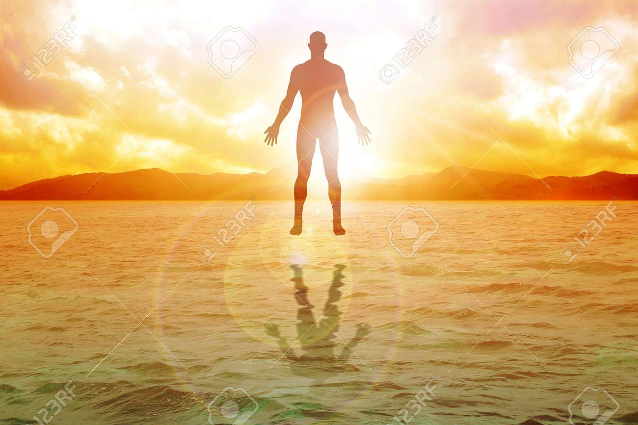 Silhouette illustration of human figure floating on water Stock Illustration - 16341913