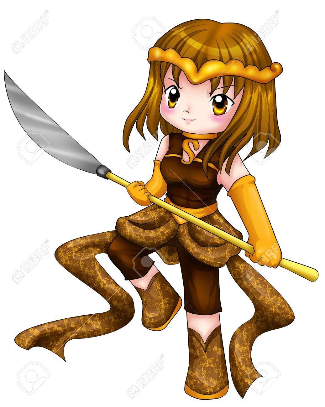 bc6c96fdb4c1f Chibi estilo de ilustración de una chica guerrera Foto de archivo - 16340315