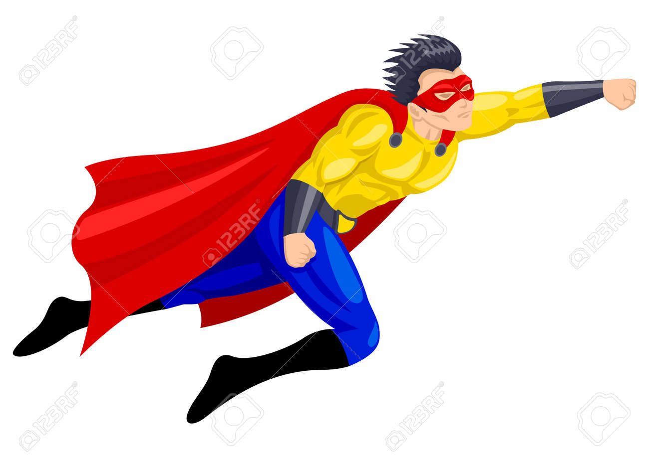 Superhero with a mask in flying pose Stock Vector - 16340202