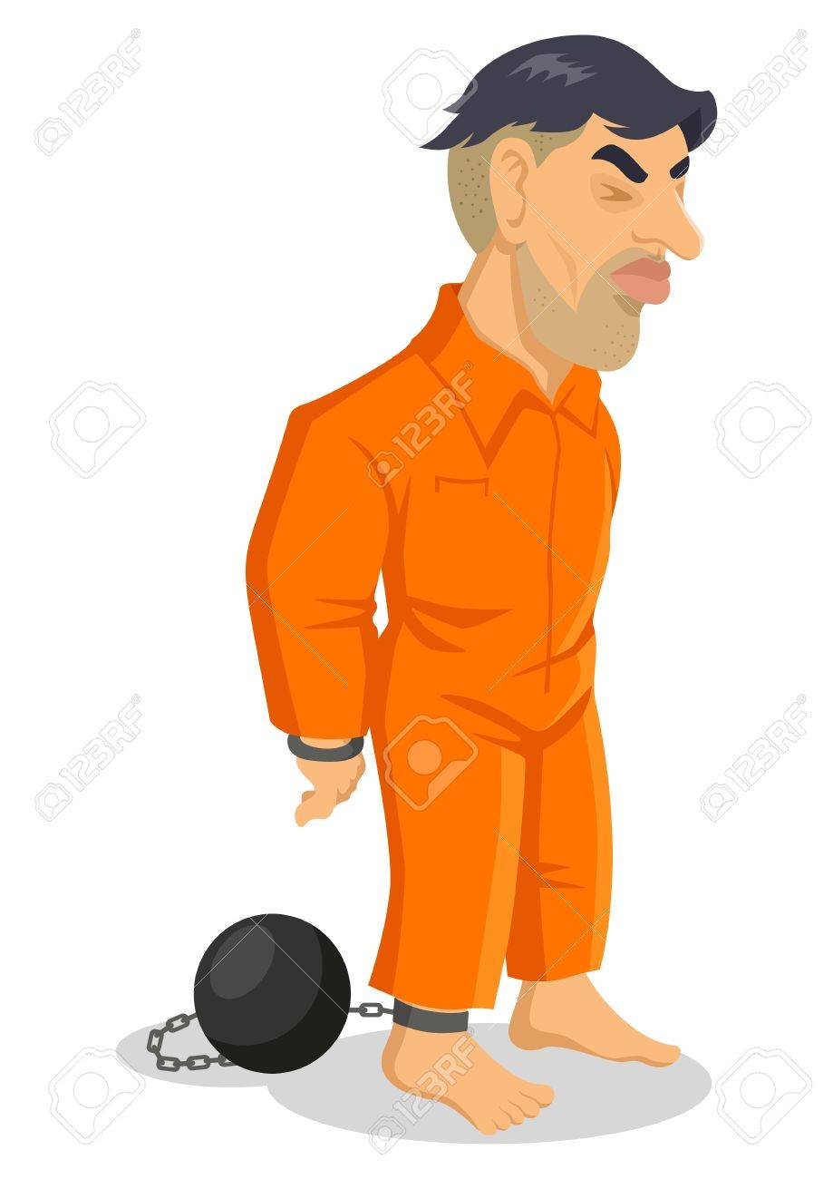Cartoon illustration of a man being chained to iron ball Stock Vector - 16620852