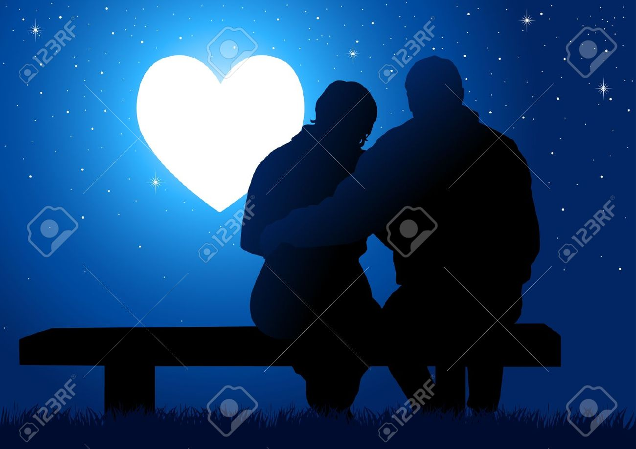 Silhouette illustration of a couple sitting on a bench, watching the glowing heart Stock Vector - 17697150
