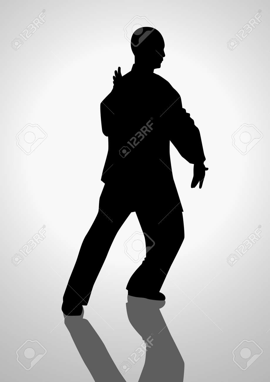 太極拳をやっている人の図のシルエット イラストのイラスト素材ベクタ