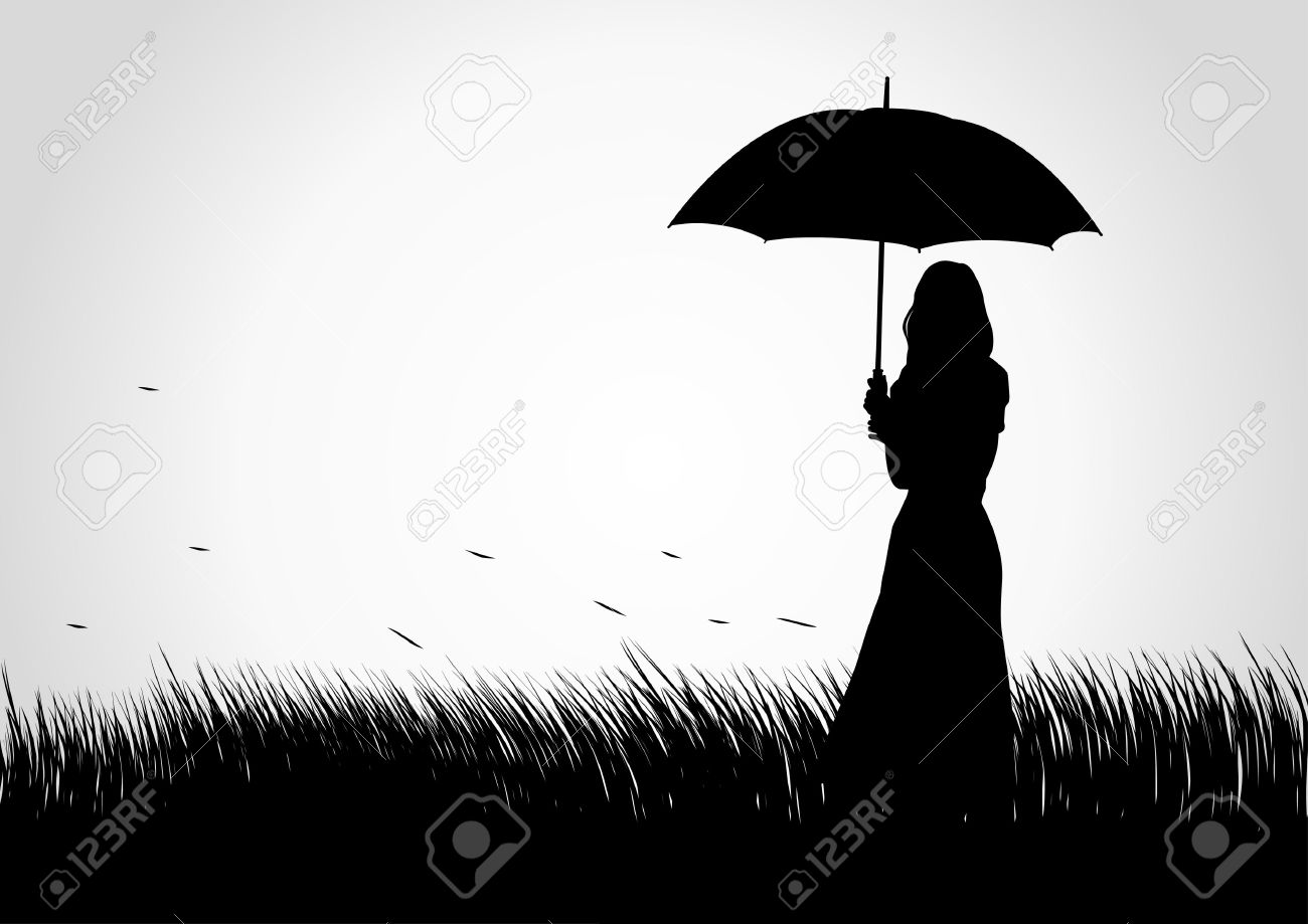 Silhouette illustration of a girl with umbrella on grass field Stock Vector - 18890779
