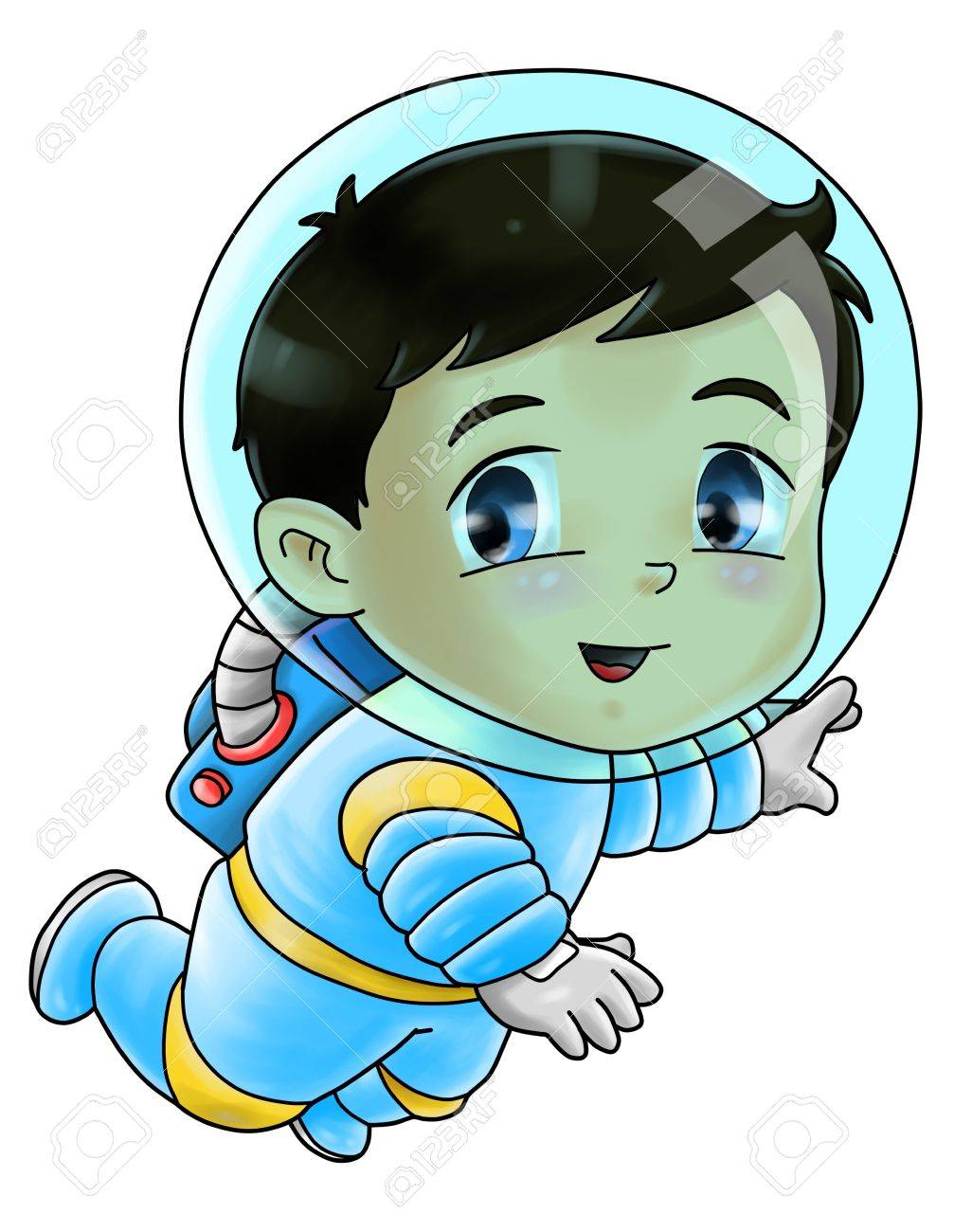Cute cartoon illustration of an astronaut Stock Photo - 18890784