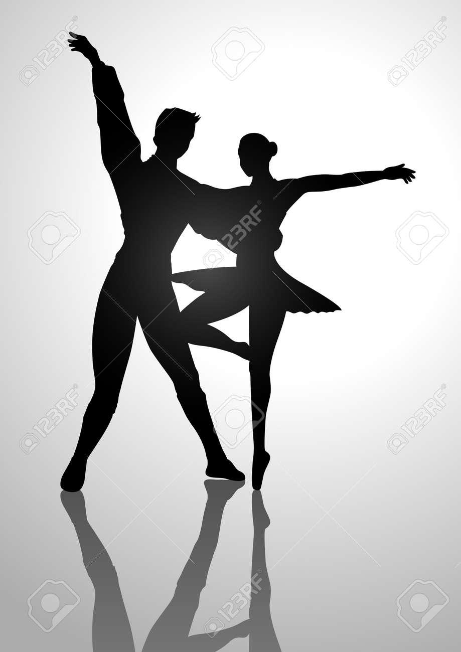 ダンス カップル バレエのシルエット イラスト ロイヤリティフリー