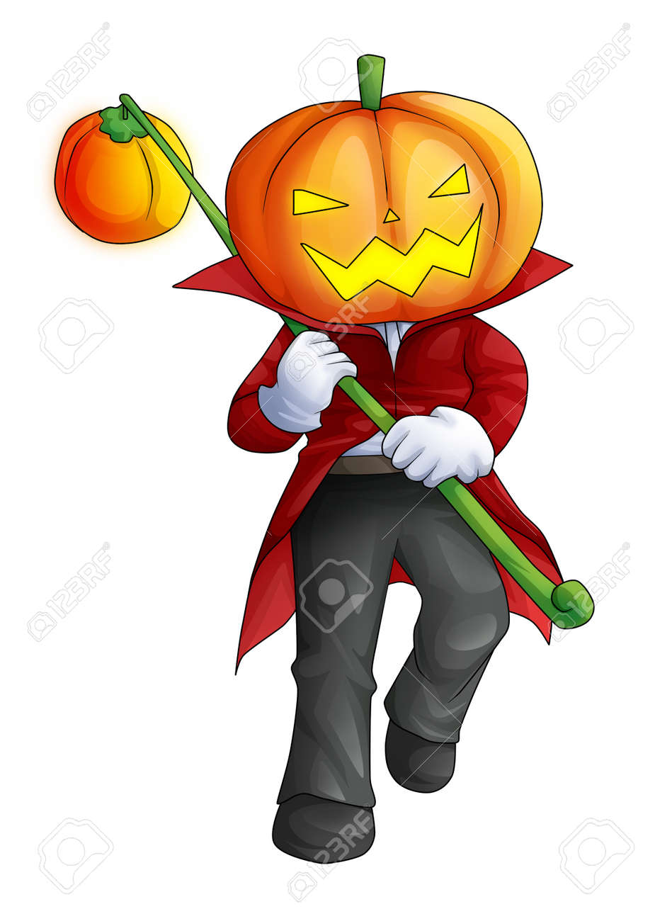 Cartoon illustration of Halloween ghost with pumpkin head Stock Illustration - 23572576