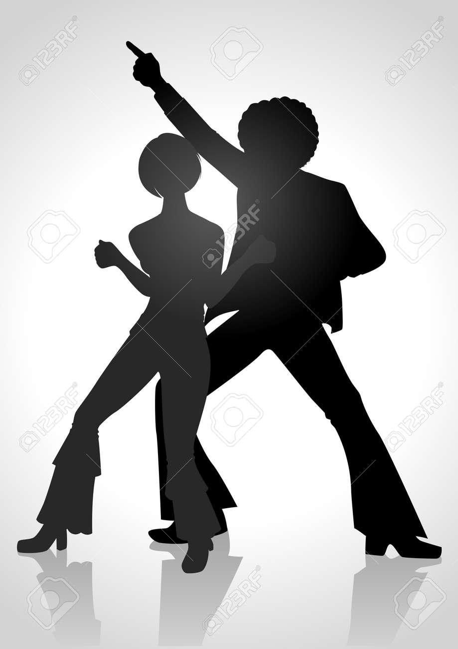 70 年代で踊っているカップルの図のシルエットのファッションの