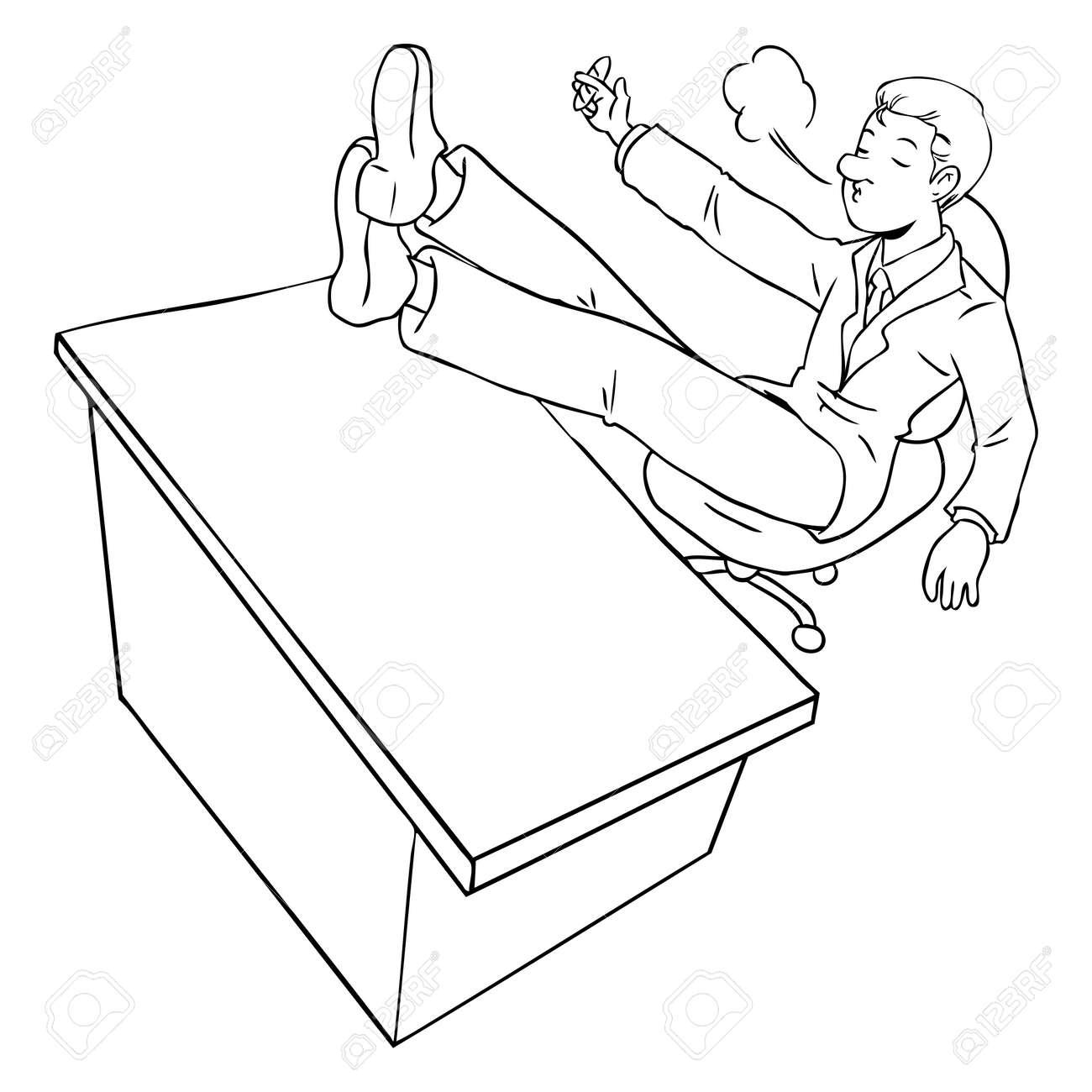 Ilustración De Dibujos Animados De Un Hombre De Negocios De Cigarros ...