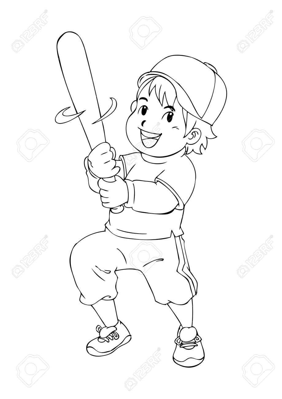 outline illustration of a boy holding a baseball bat royalty free
