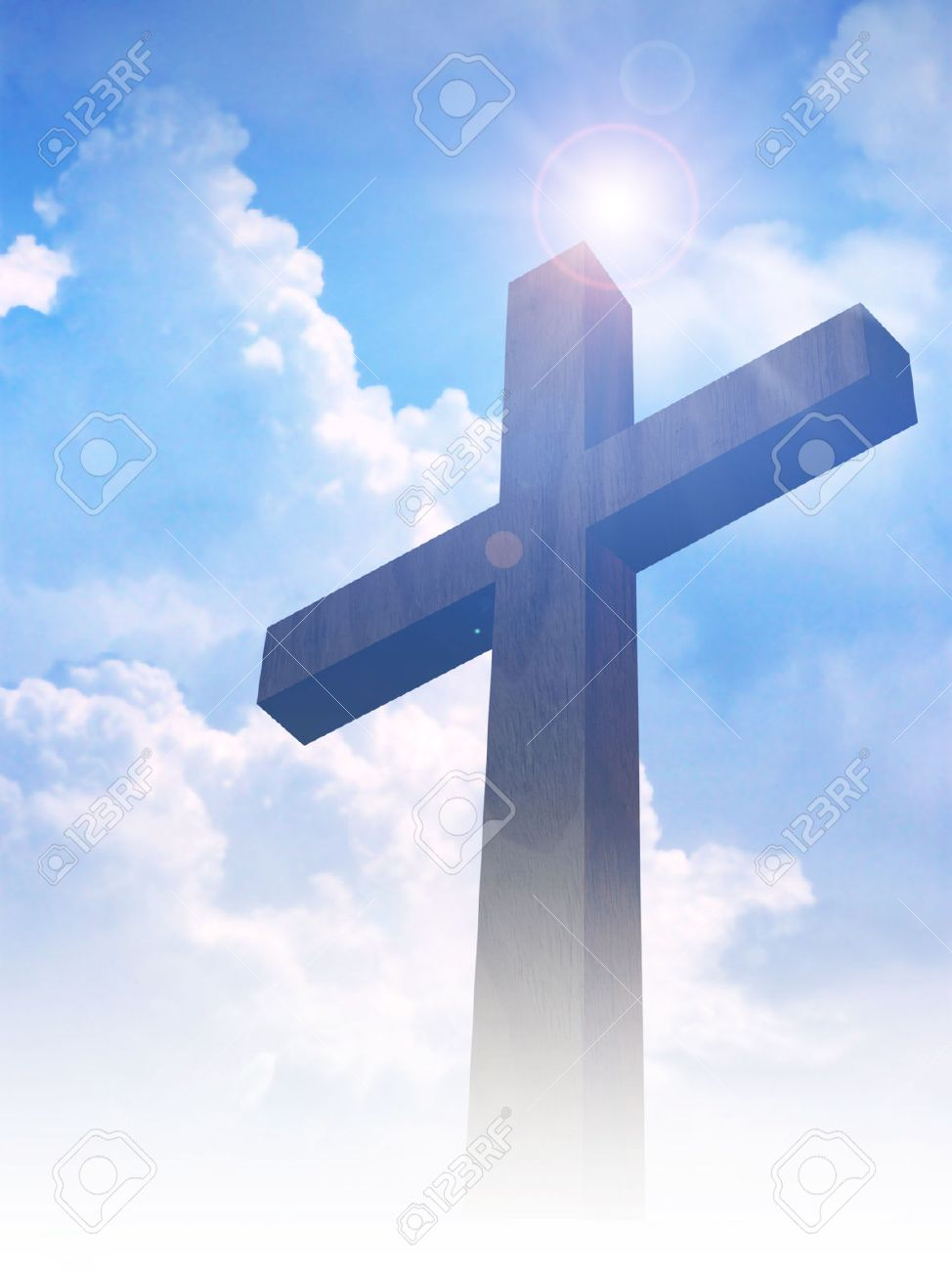 Silhouette of the holy cross on background of storm clouds stock - Clouds Cross A Cross On Clouds Background Stock Photo