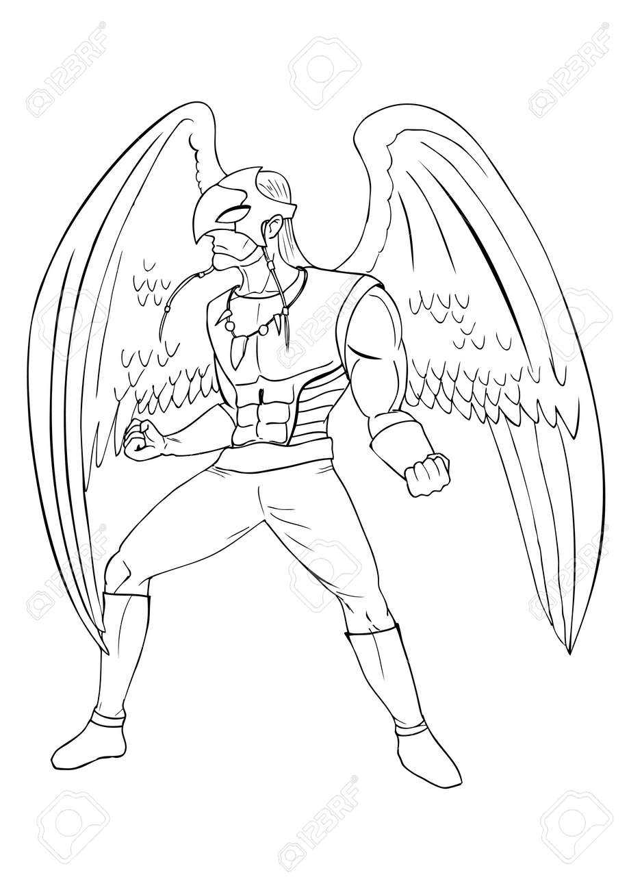 outline illustration of a superhero as a bird man royalty free