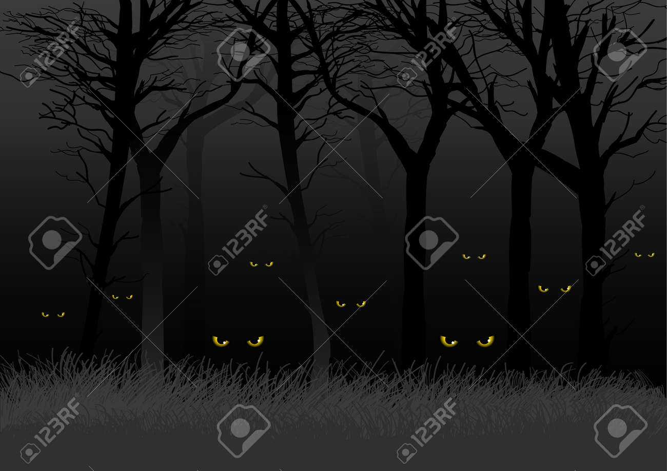 Scary eyes staring and lurking from dark woods, suitable for Halloween theme - 31732842