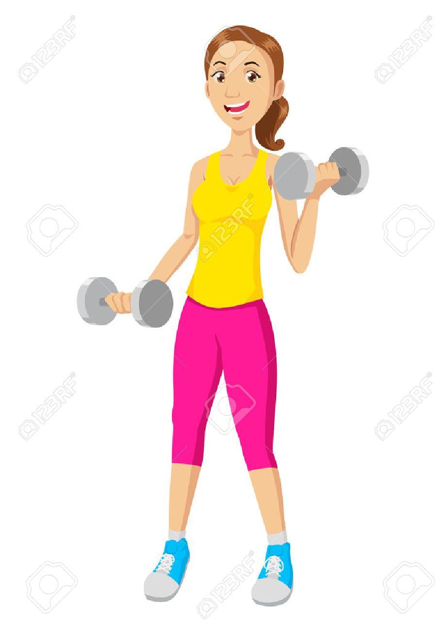 ilustración de la historieta de una mujer el ejercicio con pesas