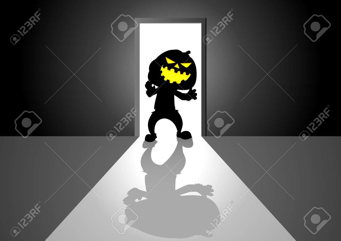 Cartoon Illustration Of Pumpkin Ghost In Front Of A Door Royalty ...