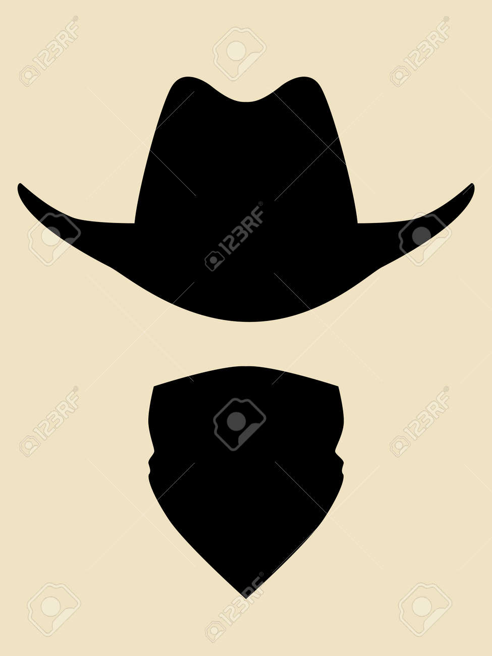 Cowboy Hat And Bandana Covering Face Symbol Royalty Free Cliparts ... fcc4457cbcf