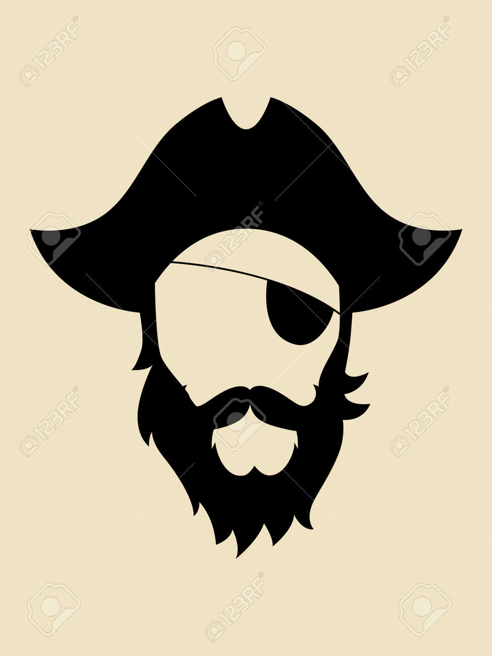 50e27574e8a Man with beards and mustache wearing a pirate hat symbol Stock Vector -  39783090