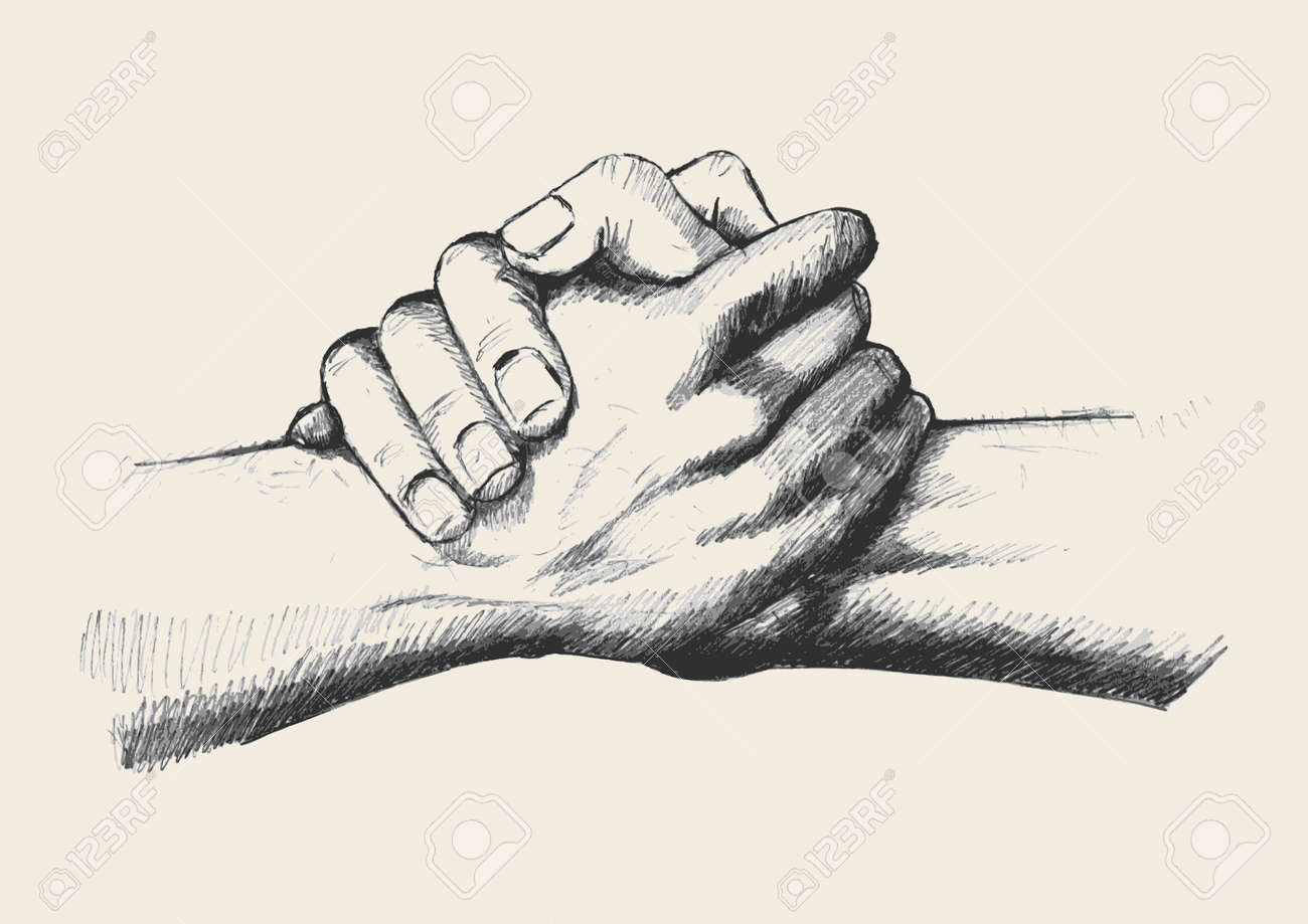 Sketch Illustration Of Two Hands Holding Each Other Strongly Royalty