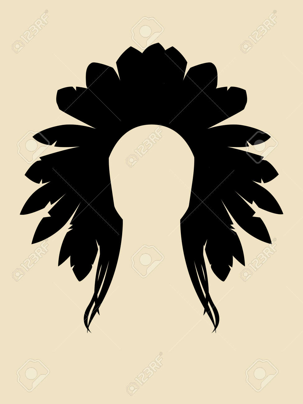 Face Symbol Of North American Indian Chieftain Royalty Free Cliparts