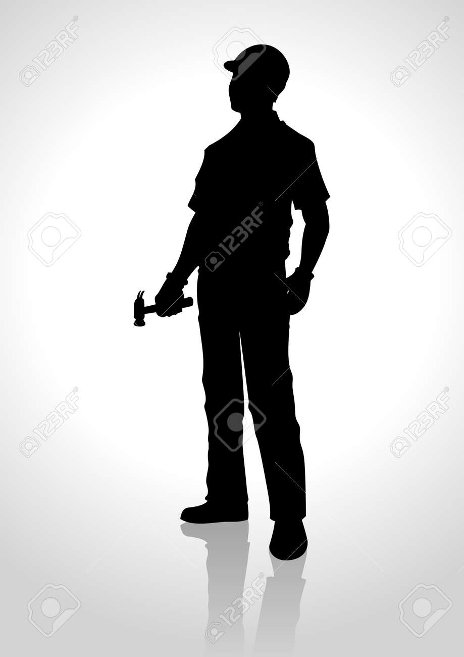 Silhouette illustration of a handyman holding a hammer - 42030097
