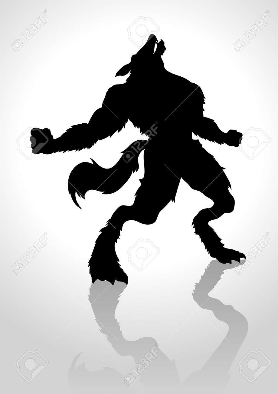 Ilustración De La Silueta De Un Hombre Lobo Aullando Ilustraciones