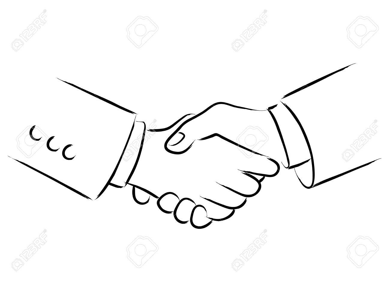 simple line art of shaking hands royalty free cliparts vectors and