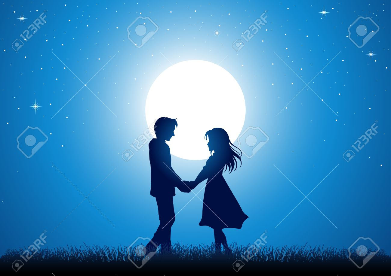 silhouette illustration of young couple holding hands under the moonlight stock vector 45522083