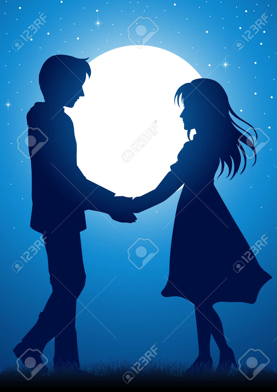 silhouette illustration of young couple holding hands under the moonlight stock vector 45522102