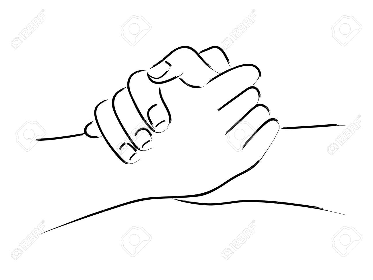 Line Art Of Two Hands Holding Each Other Strongly Royalty Free