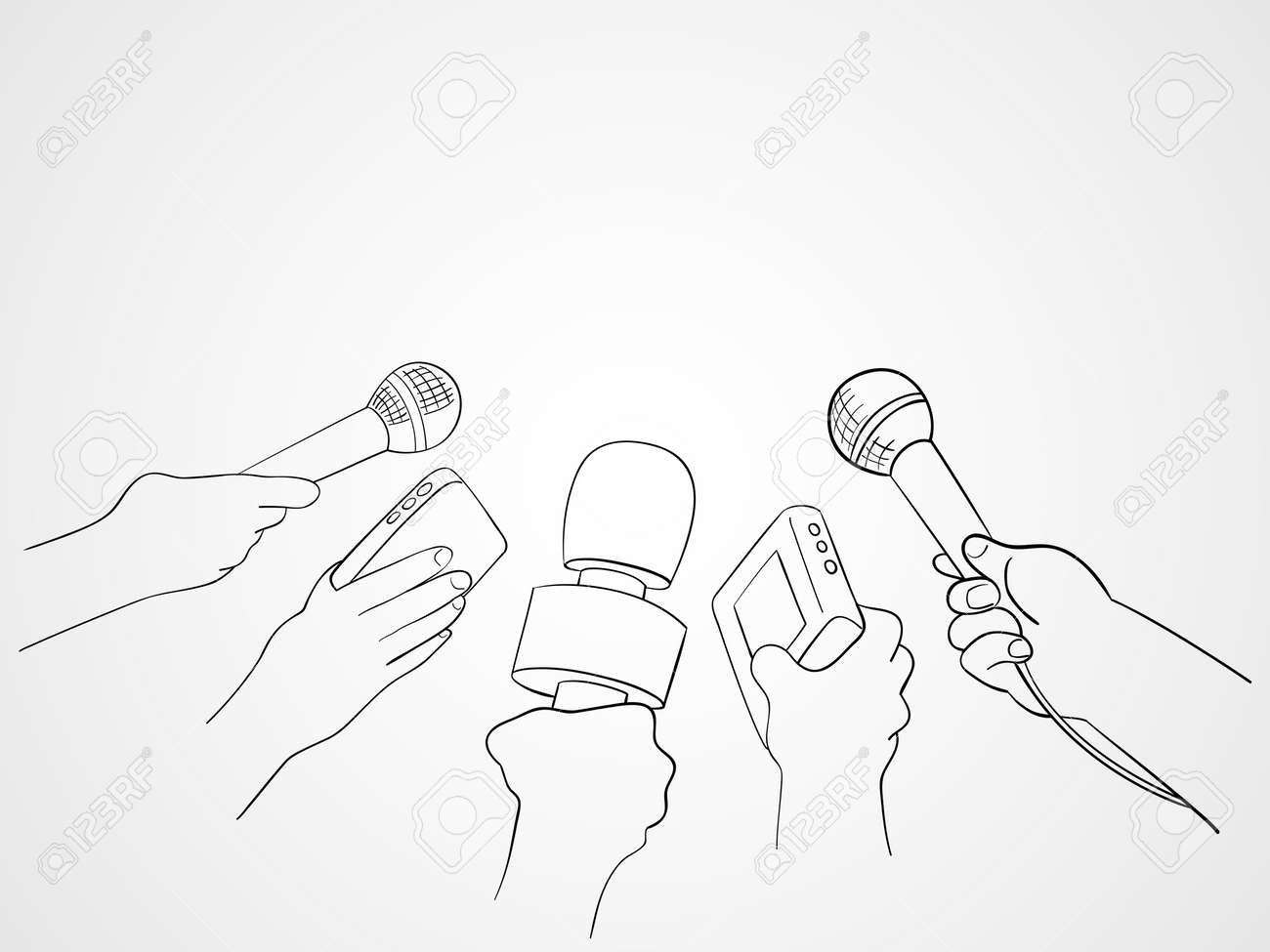 Line Art Hand : Line art illustration of hands holding microphones and recorders