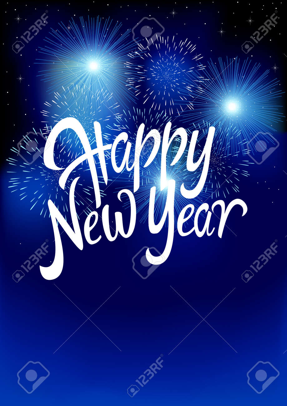 text of happy new year with fireworks background for new year theme gradient mesh