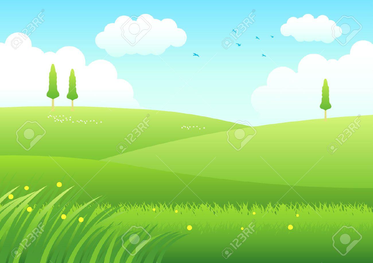 Cartoon illustration of meadows - 49220590