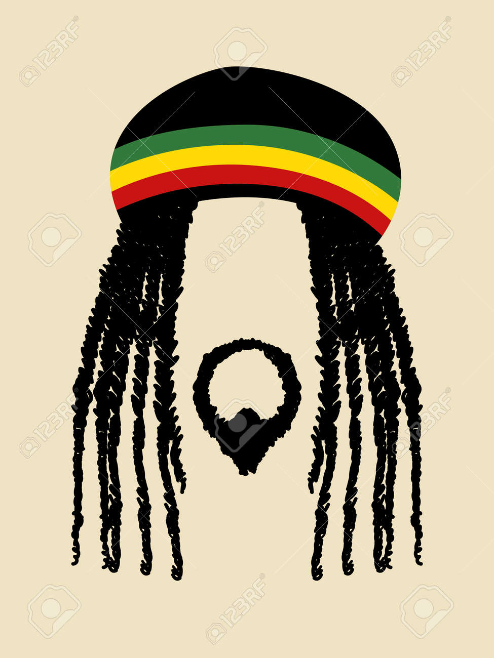 face symbol of a man with dreadlocks hairstyle rasta rastafarian