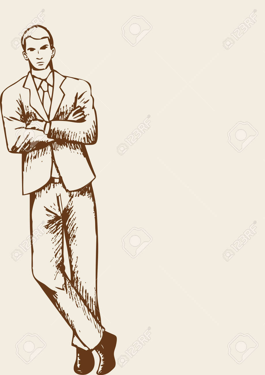 Sketch of a businessman leaning at the corner of the page with arm crossed - 50429794